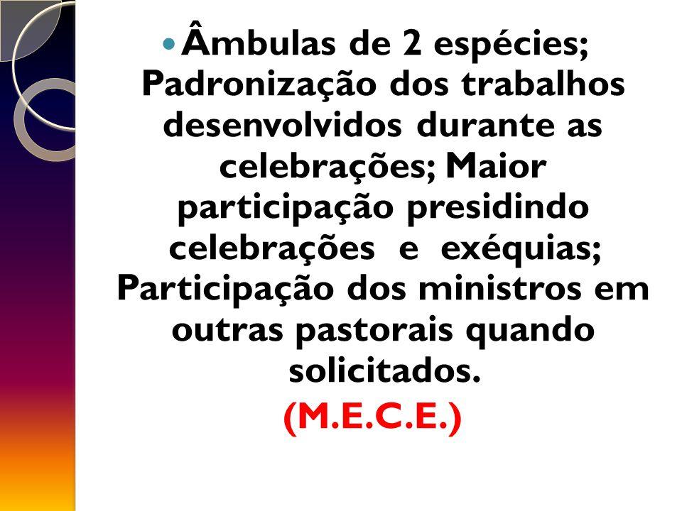 Âmbulas de 2 espécies; Padronização dos trabalhos desenvolvidos durante as celebrações; Maior participação presidindo celebrações e exéquias; Participação dos ministros em outras pastorais quando solicitados.
