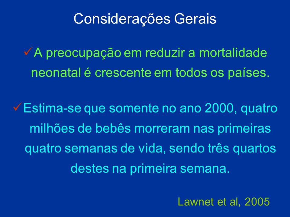 Considerações Gerais A preocupação em reduzir a mortalidade neonatal é crescente em todos os países.