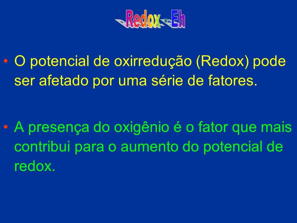 Redox - Eh O potencial de oxirredução (Redox) pode ser afetado por uma série de fatores.