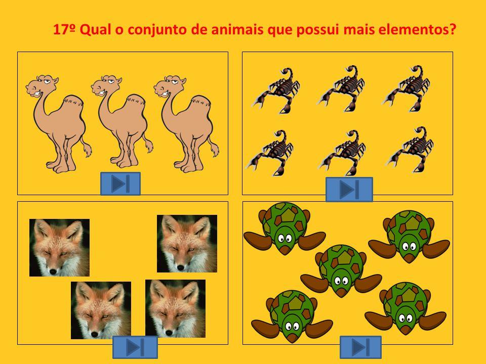 17º Qual o conjunto de animais que possui mais elementos