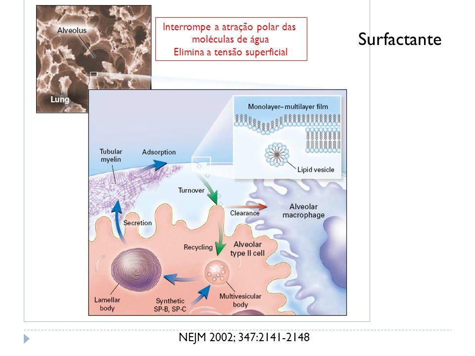 Surfactante NEJM 2002; 347:2141-2148 Interrompe a atração polar das