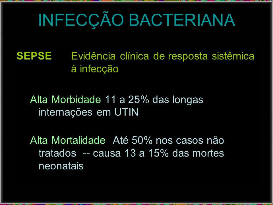INFECÇÃO BACTERIANASEPSE Evidência clínica de resposta sistêmica à infecção. Alta Morbidade 11 a 25% das longas internações em UTIN.