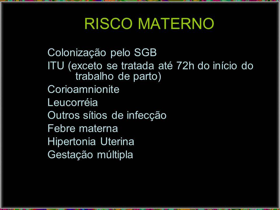 RISCO MATERNO Colonização pelo SGB