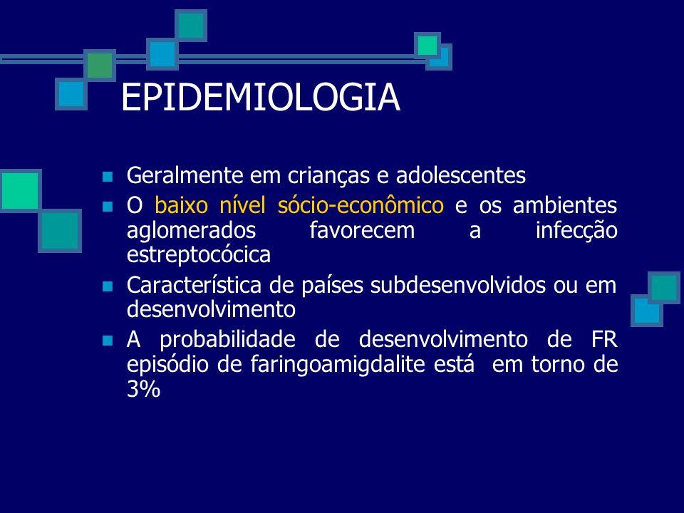 EPIDEMIOLOGIA Geralmente em crianças e adolescentes