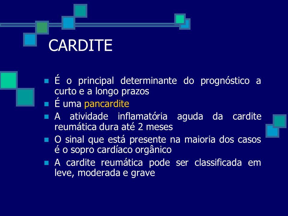 CARDITE É o principal determinante do prognóstico a curto e a longo prazos. É uma pancardite.