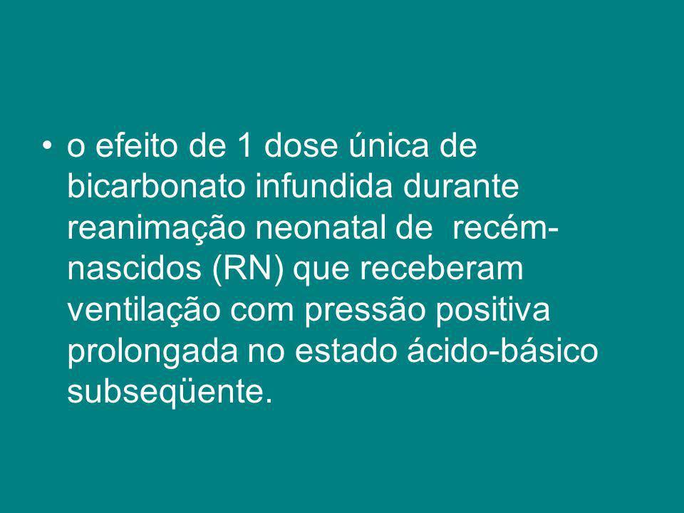 o efeito de 1 dose única de bicarbonato infundida durante reanimação neonatal de recém-nascidos (RN) que receberam ventilação com pressão positiva prolongada no estado ácido-básico subseqüente.