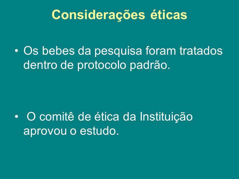 Considerações éticas Os bebes da pesquisa foram tratados dentro de protocolo padrão.