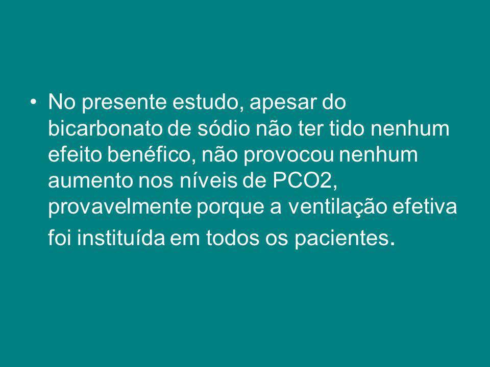 No presente estudo, apesar do bicarbonato de sódio não ter tido nenhum efeito benéfico, não provocou nenhum aumento nos níveis de PCO2, provavelmente porque a ventilação efetiva foi instituída em todos os pacientes.