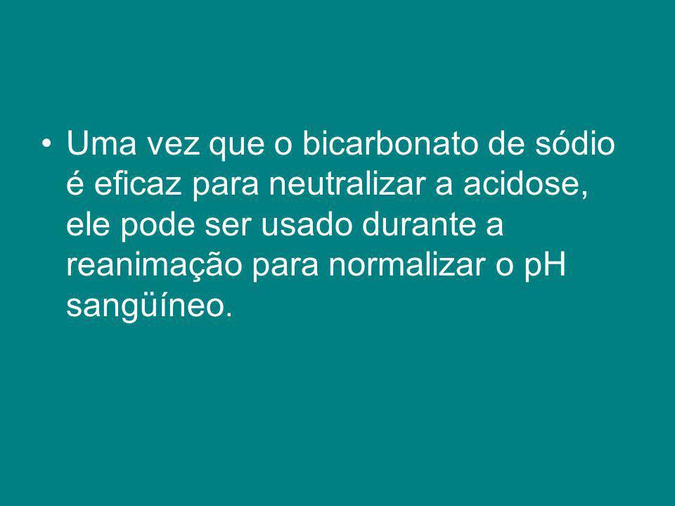 Uma vez que o bicarbonato de sódio é eficaz para neutralizar a acidose, ele pode ser usado durante a reanimação para normalizar o pH sangüíneo.