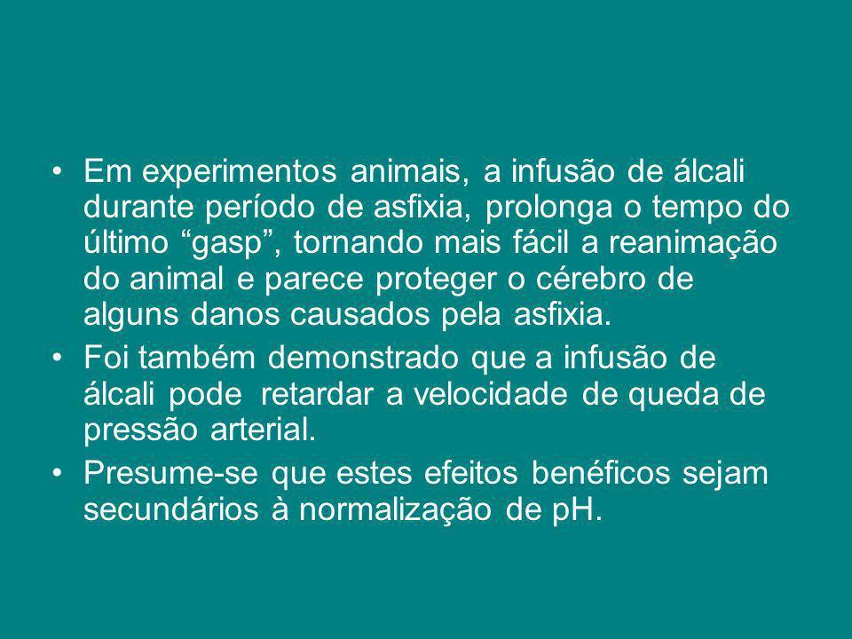Em experimentos animais, a infusão de álcali durante período de asfixia, prolonga o tempo do último gasp , tornando mais fácil a reanimação do animal e parece proteger o cérebro de alguns danos causados pela asfixia.
