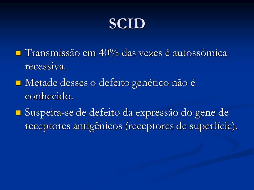 SCID Transmissão em 40% das vezes é autossômica recessiva.