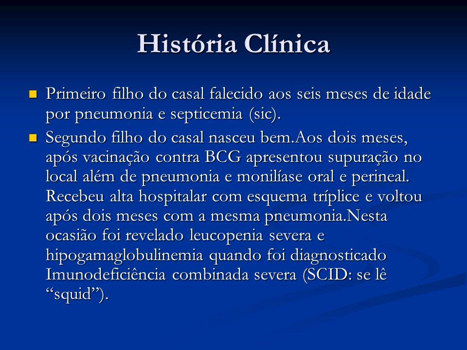 História Clínica Primeiro filho do casal falecido aos seis meses de idade por pneumonia e septicemia (sic).