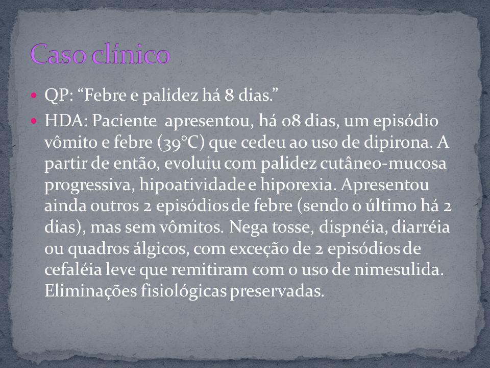 Caso clínico QP: Febre e palidez há 8 dias.