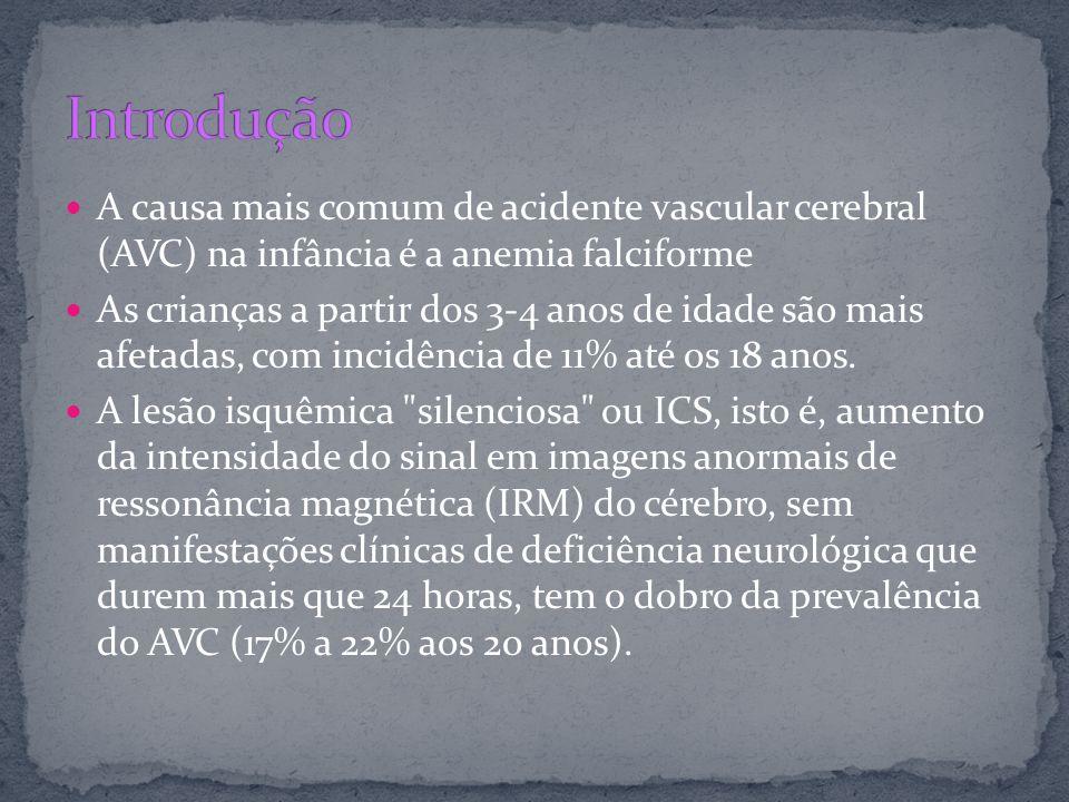 Introdução A causa mais comum de acidente vascular cerebral (AVC) na infância é a anemia falciforme.