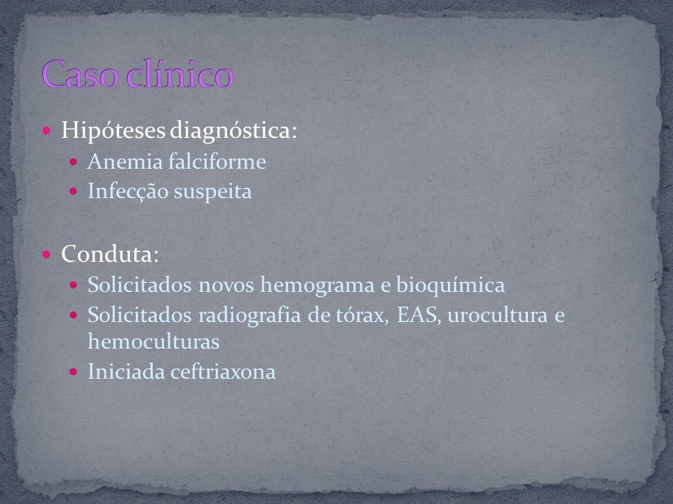 Caso clínico Hipóteses diagnóstica: Conduta: Anemia falciforme