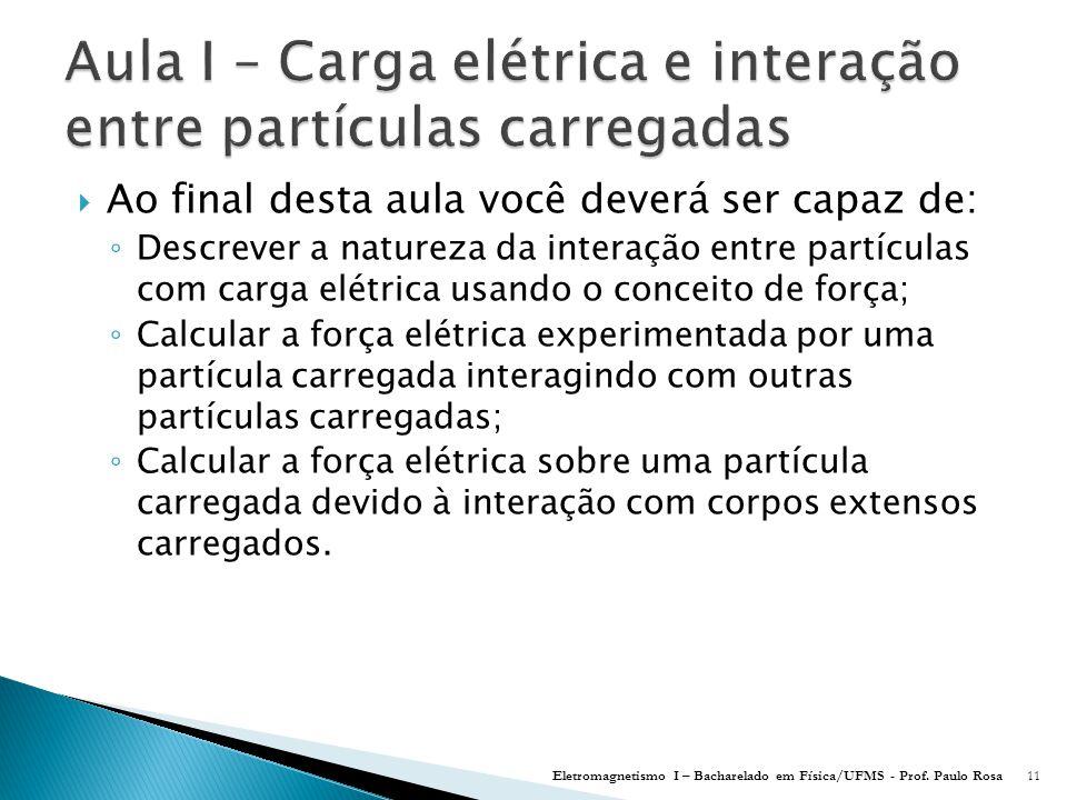 Aula I – Carga elétrica e interação entre partículas carregadas