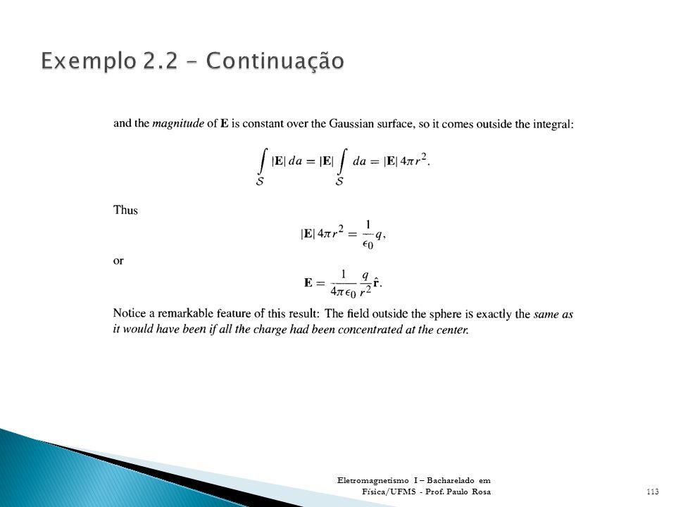 Exemplo 2.2 - Continuação Eletromagnetismo I – Bacharelado em Física/UFMS - Prof. Paulo Rosa
