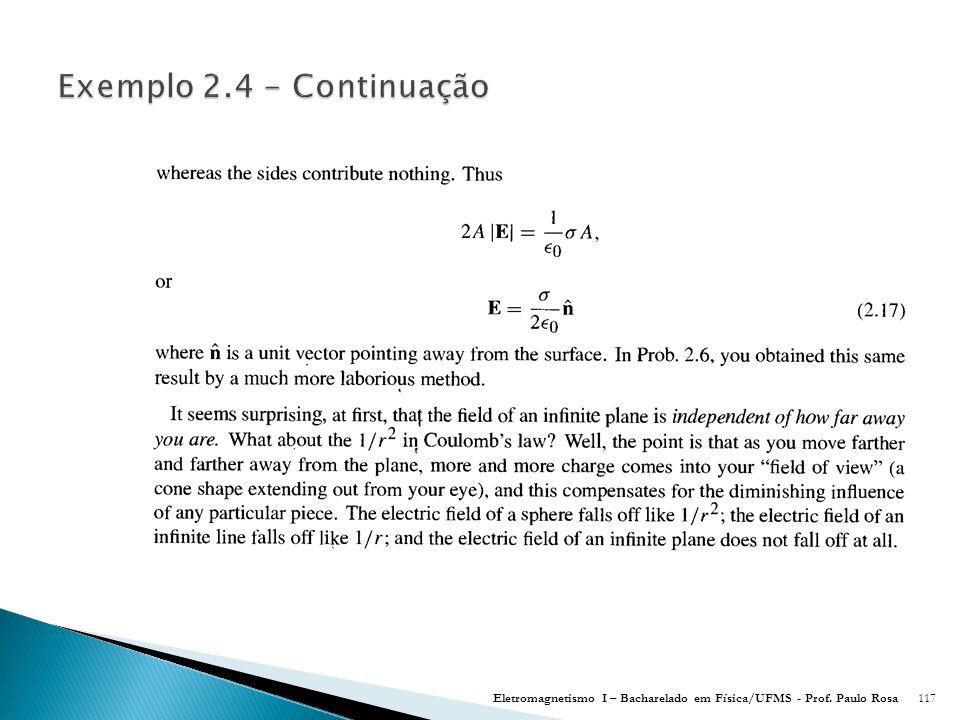 Exemplo 2.4 - Continuação Eletromagnetismo I – Bacharelado em Física/UFMS - Prof. Paulo Rosa
