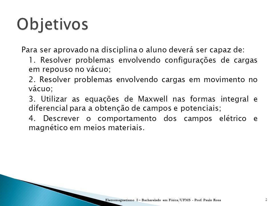Eletromagnetismo I – Bacharelado em Física/UFMS - Prof. Paulo Rosa