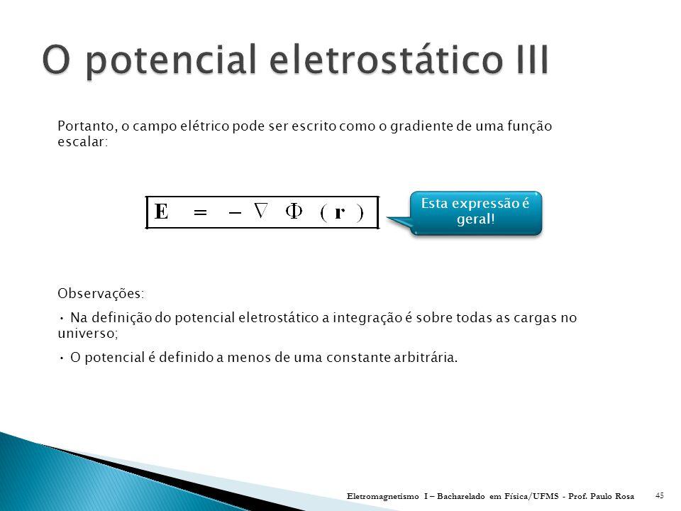 O potencial eletrostático III
