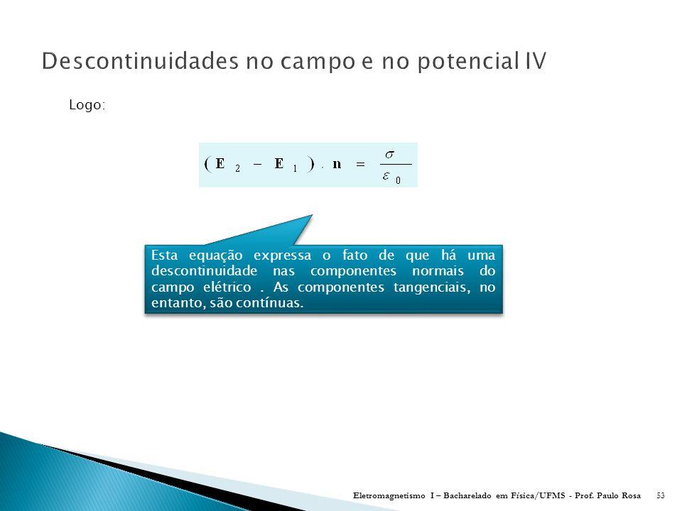 Descontinuidades no campo e no potencial IV