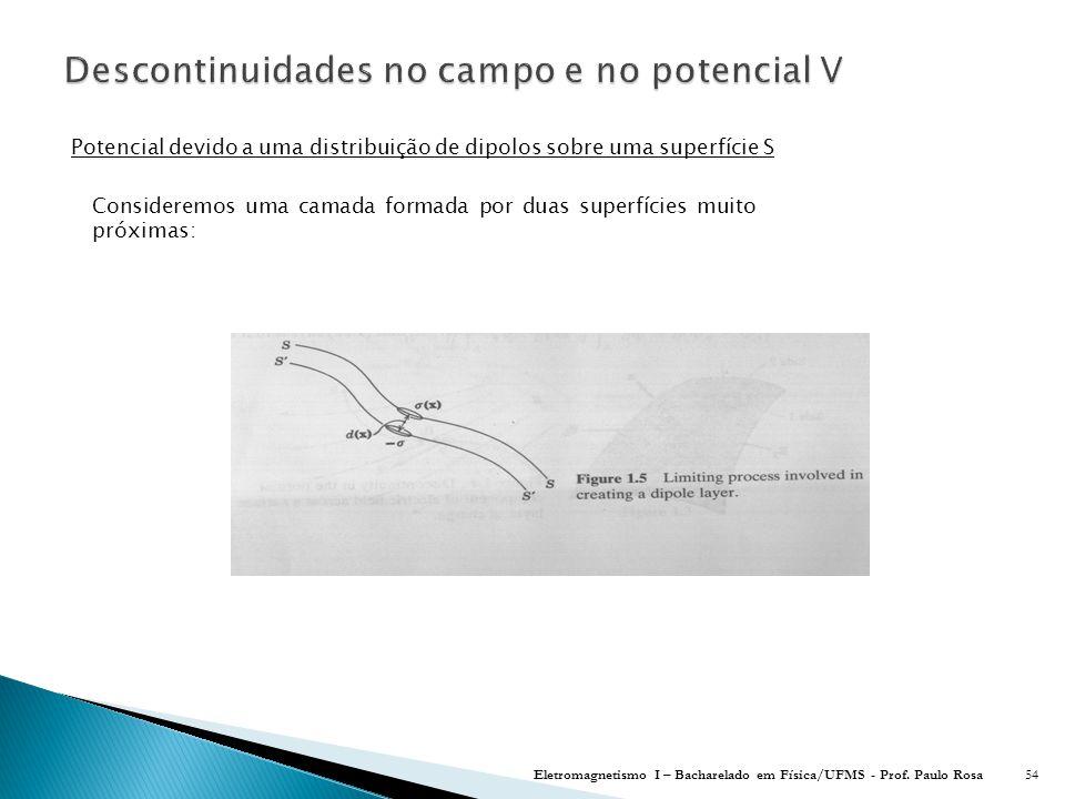 Descontinuidades no campo e no potencial V