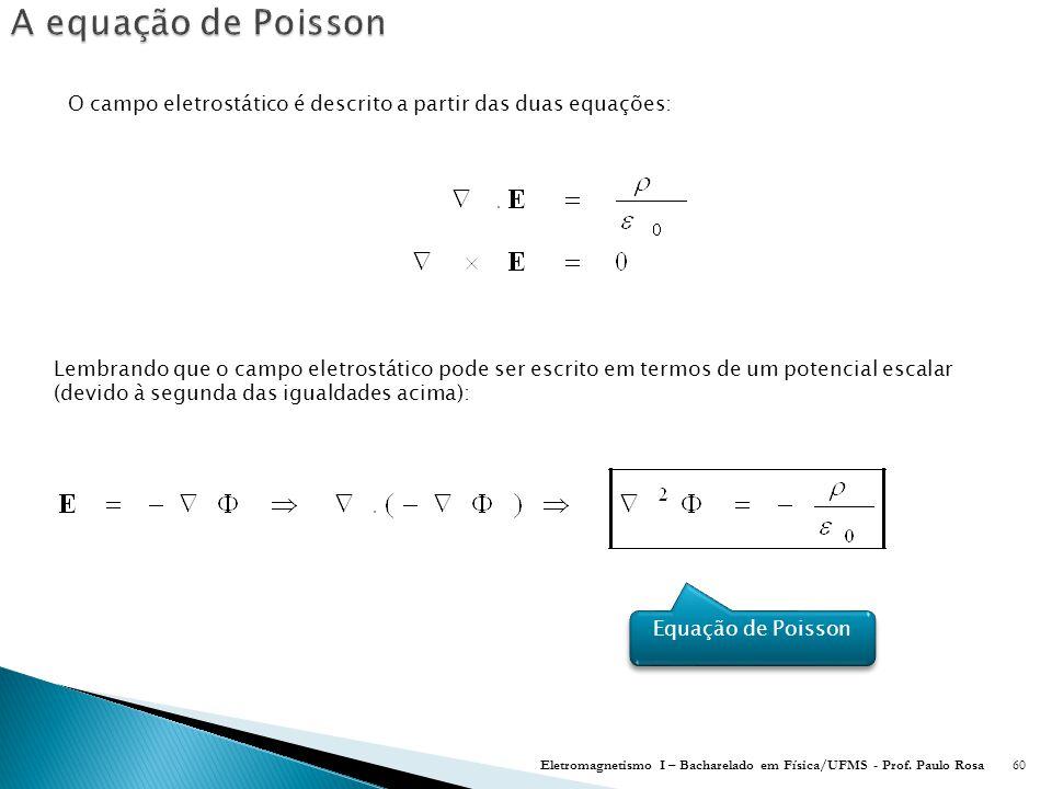 A equação de Poisson O campo eletrostático é descrito a partir das duas equações:
