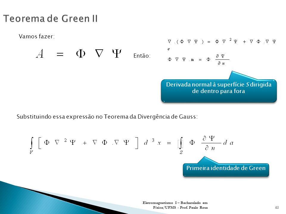 Teorema de Green II Vamos fazer: Então:
