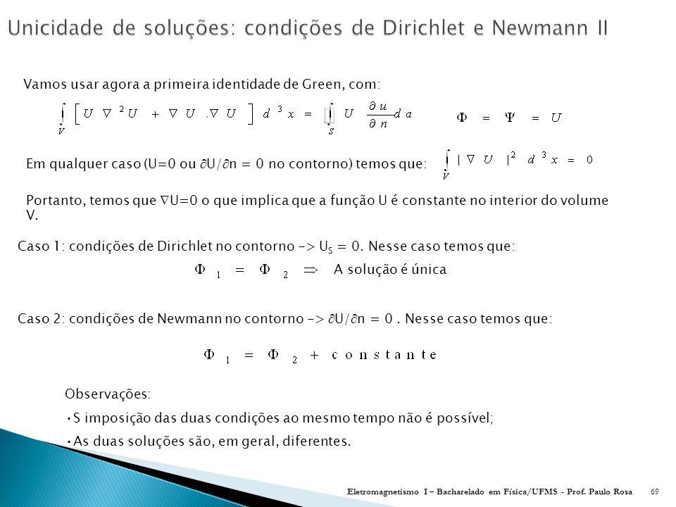 Unicidade de soluções: condições de Dirichlet e Newmann II