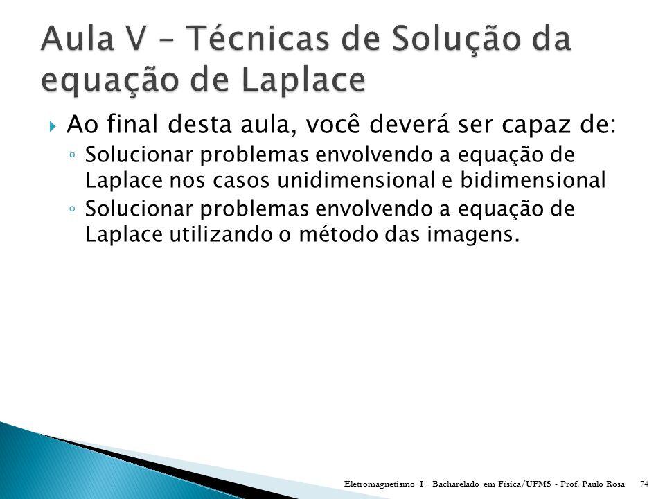 Aula V – Técnicas de Solução da equação de Laplace