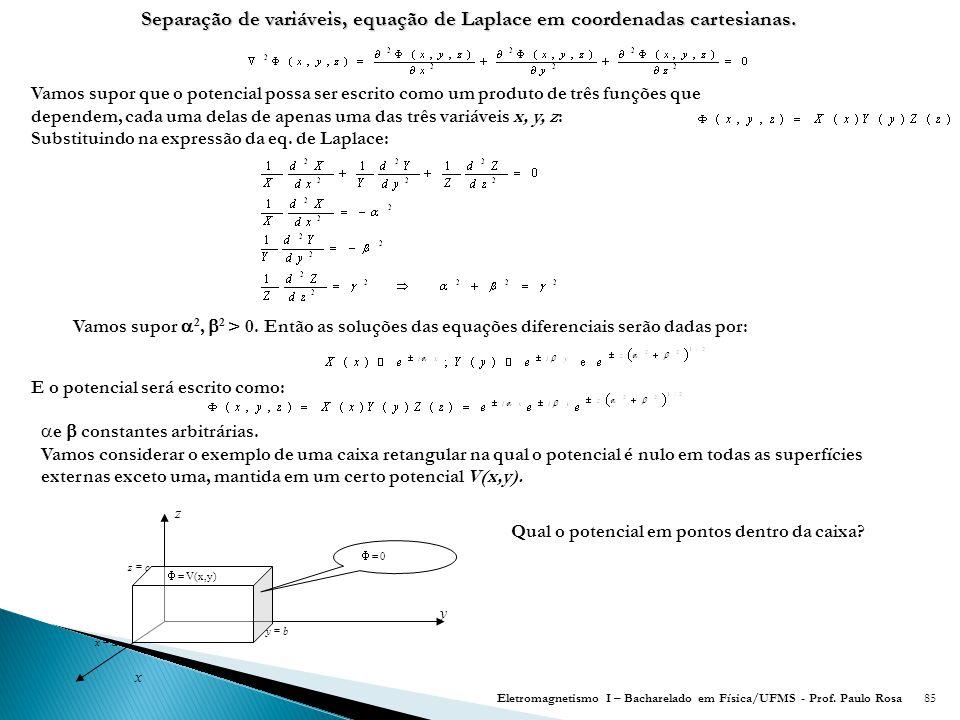 Separação de variáveis, equação de Laplace em coordenadas cartesianas.