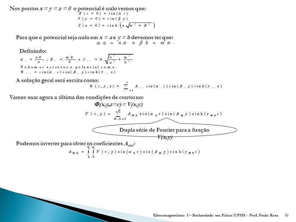 Dupla série de Fourier para a função V(x,y)