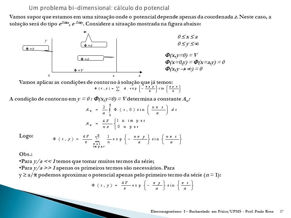 Um problema bi-dimensional: cálculo do potencial