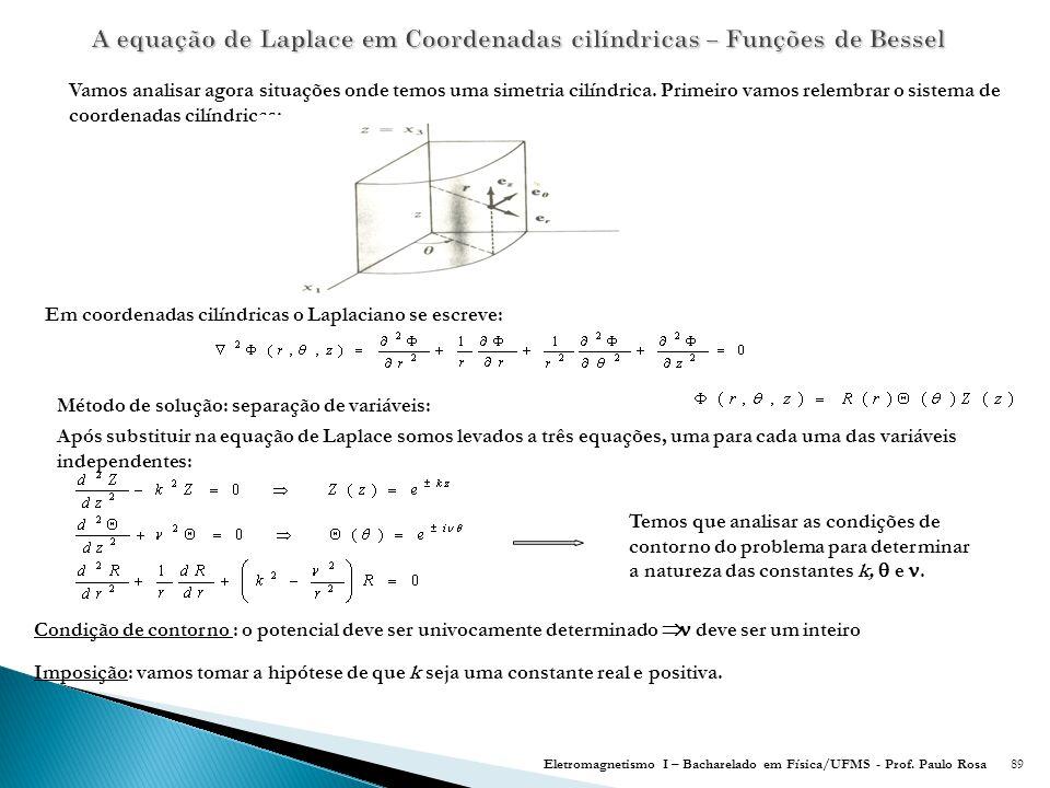A equação de Laplace em Coordenadas cilíndricas – Funções de Bessel