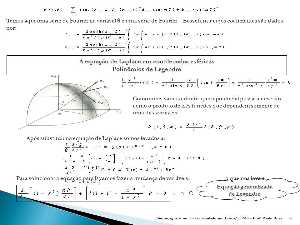 A equação de Laplace em coordenadas esféricas Polinômios de Legendre