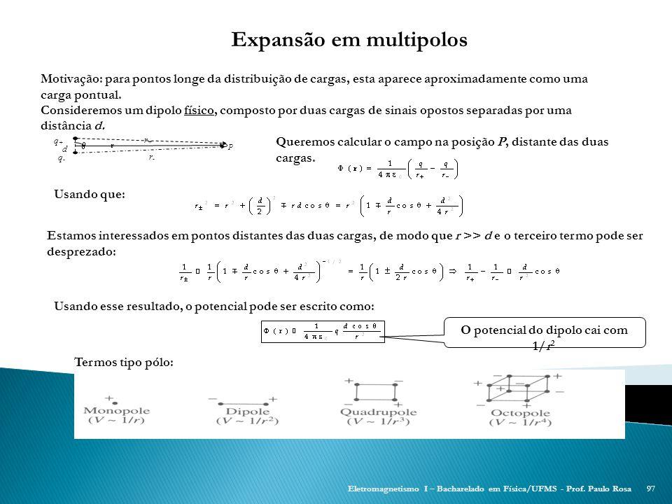 Expansão em multipolos O potencial do dipolo cai com 1/r2