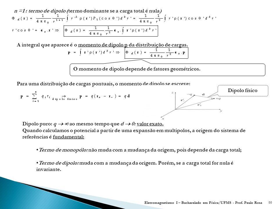 n =1 : termo de dipolo (termo dominante se a carga total é nula)
