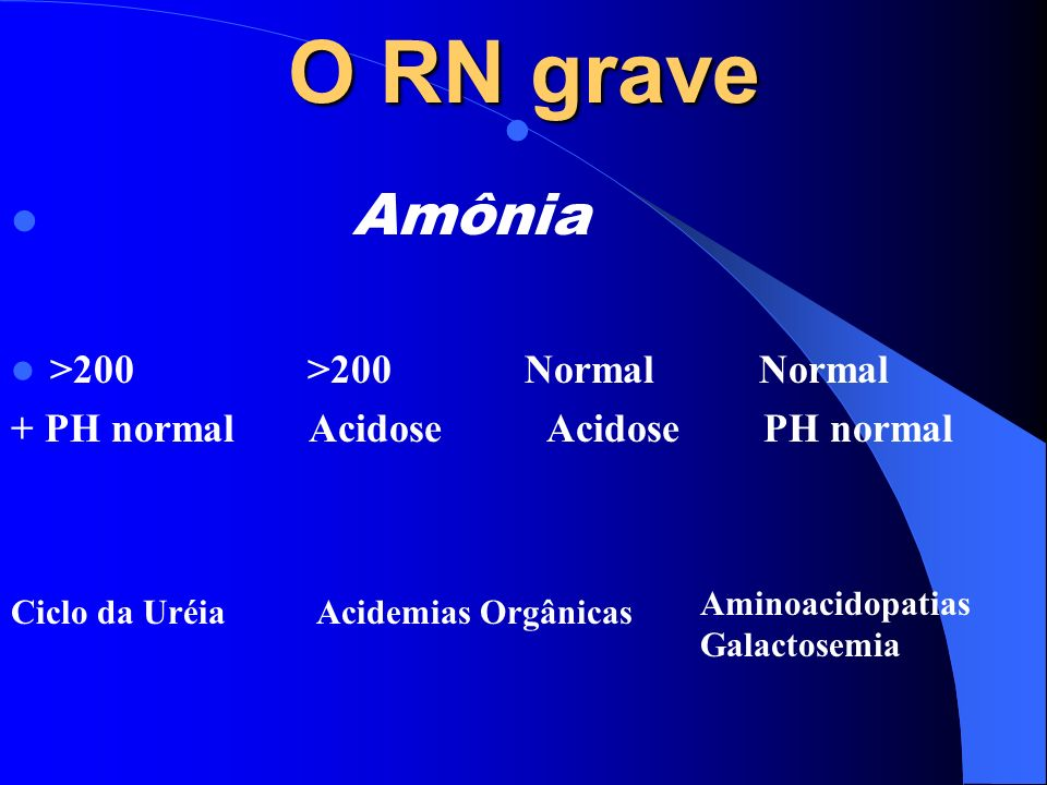 O RN grave Amônia >200 >200 Normal Normal