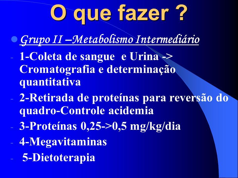 O que fazer Grupo II –Metabolismo Intermediário