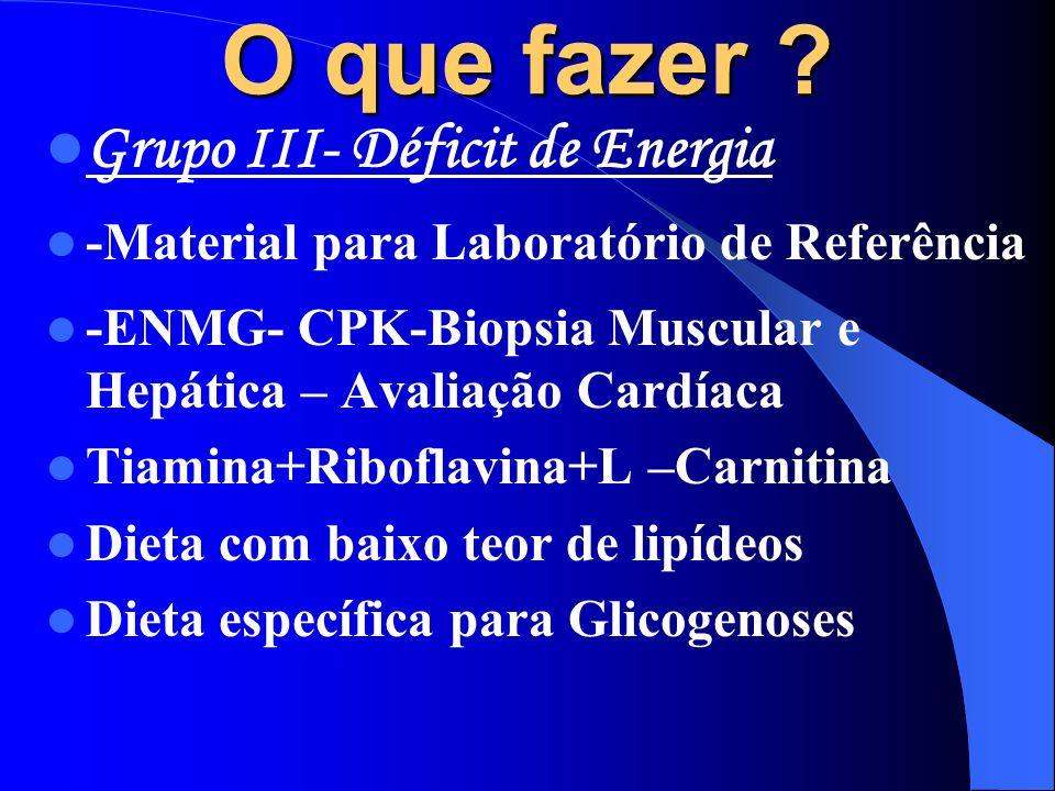 O que fazer Grupo III- Déficit de Energia