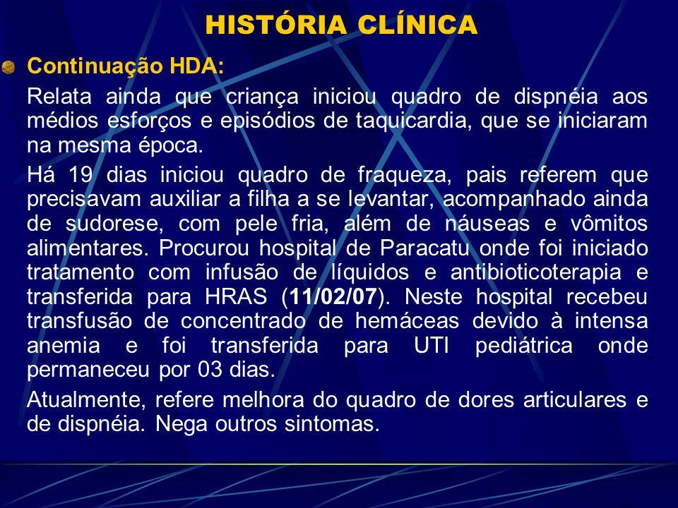 HISTÓRIA CLÍNICA Continuação HDA:
