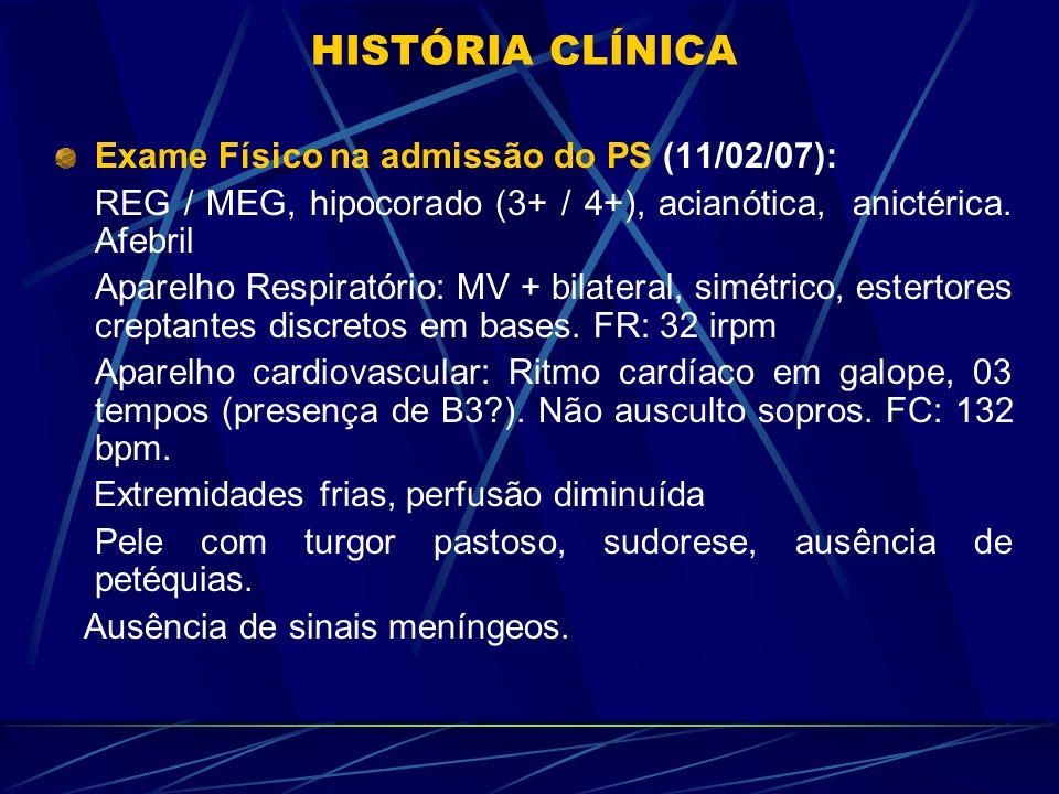 HISTÓRIA CLÍNICA Exame Físico na admissão do PS (11/02/07):