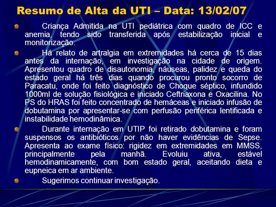 Resumo de Alta da UTI – Data: 13/02/07