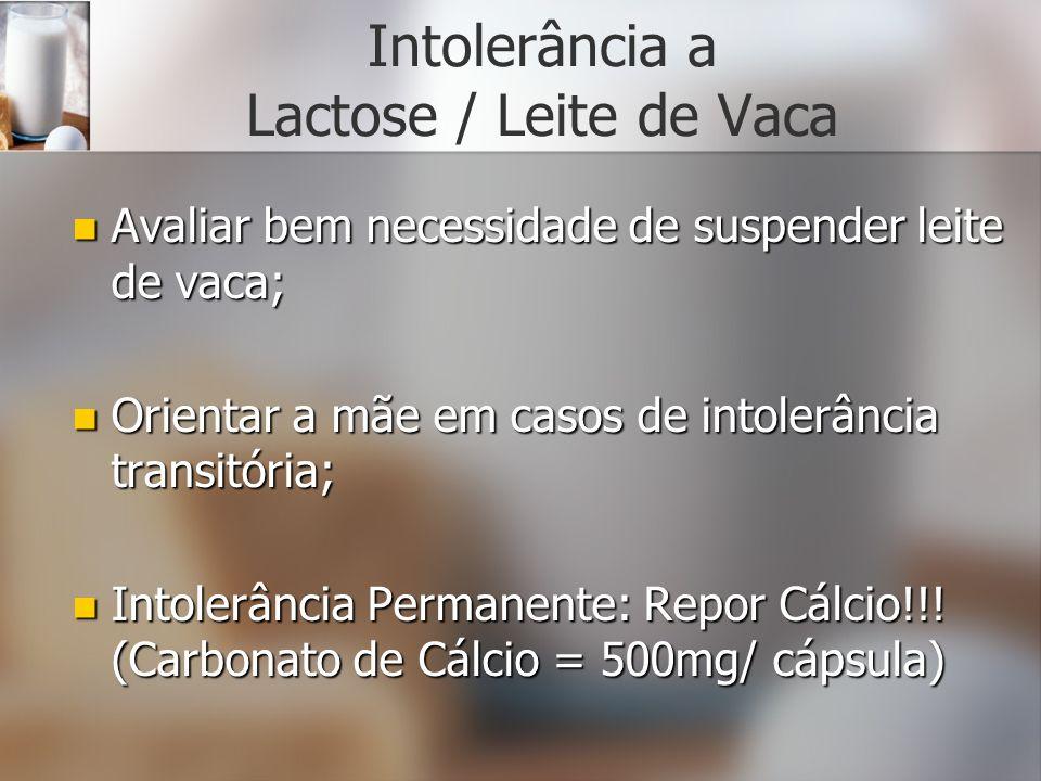 Intolerância a Lactose / Leite de Vaca