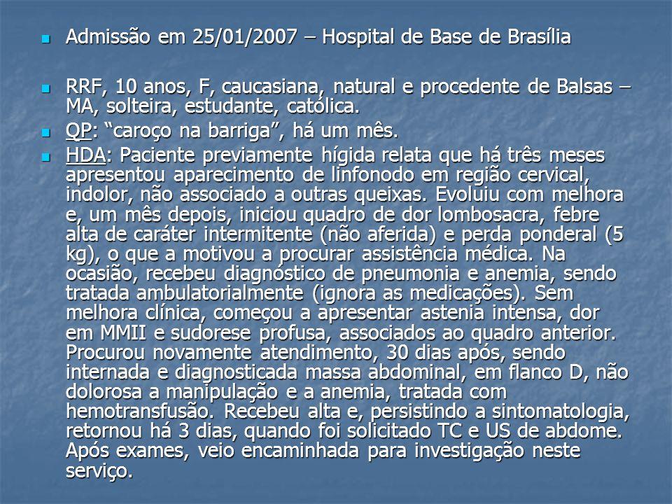 Admissão em 25/01/2007 – Hospital de Base de Brasília