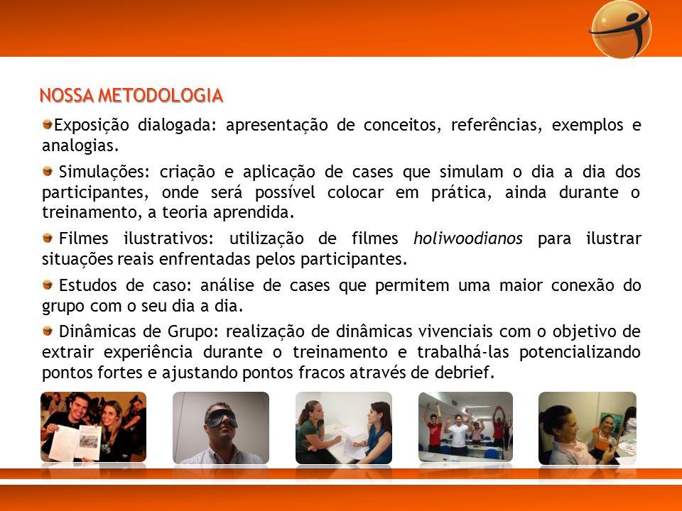 NOSSA METODOLOGIA Exposição dialogada: apresentação de conceitos, referências, exemplos e analogias.