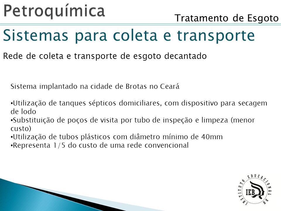 Petroquímica Sistemas para coleta e transporte Tratamento de Esgoto