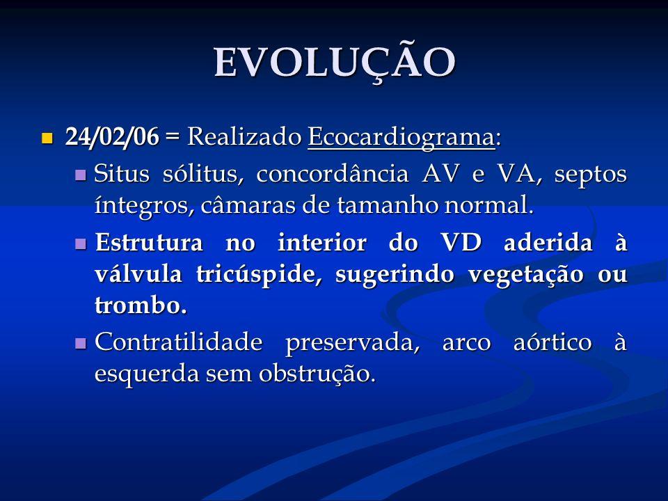 EVOLUÇÃO 24/02/06 = Realizado Ecocardiograma: