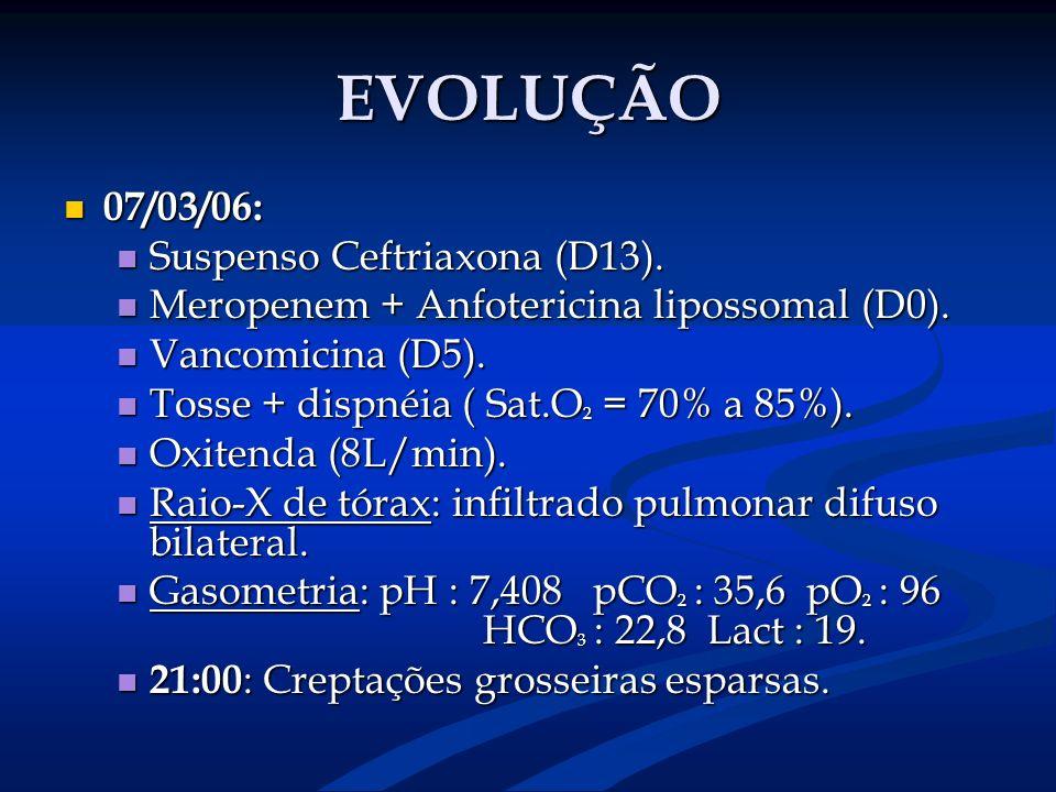 EVOLUÇÃO 07/03/06: Suspenso Ceftriaxona (D13).