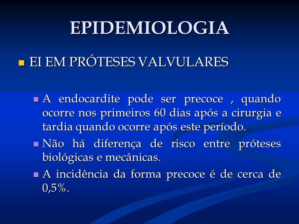 EPIDEMIOLOGIA EI EM PRÓTESES VALVULARES